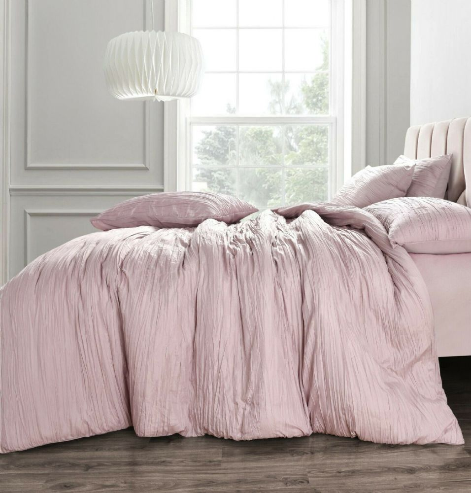 Crinkle Duvet Cover And Pillowcase Texture Stripe Bedding Set Pink Blush